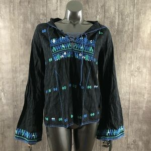Free People Large Embroidered Hooded Tunic Top